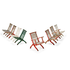 Set Of Eight Folding Deck Chairs, Two Arm, Six Side, France