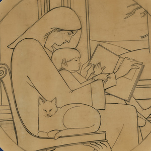 Untitled Drawing (Mother Reading to Child with Cat)