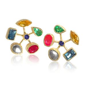 Multi Gemstone Wheel Earrings