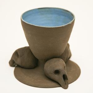 Blue Bowl with Skull Base