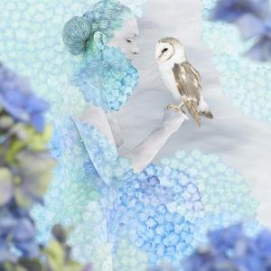 Hydrangea Cradled Owl