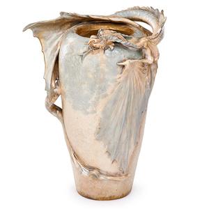 Riessner, Stellmacher & Kessel, Large Dragon Vase, Turn-Teplitz, Bohemia