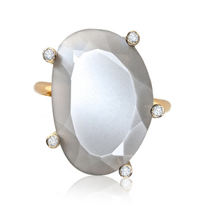 Glowing Moonstone Diamond Ring