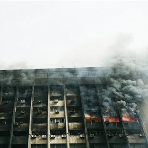 NDP building on fire in Cairo, 29th of January 2011