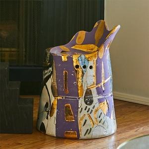 Metallic Ceramic Chair, Round Base