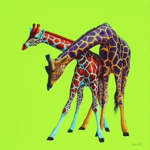 Two Giraffes on Green