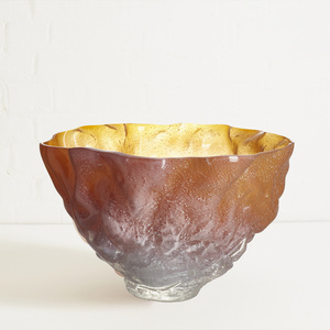 Large Texture Glass Bowl with Kaolin Patina in Amber