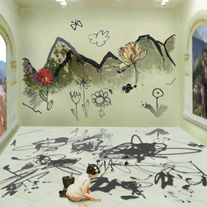 The Costume of Painter - Doodling on the wall S, little girl, a square