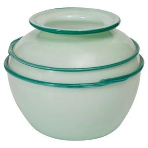 "a ""lattimo"" vase with decoration of green ""calcedonio"""