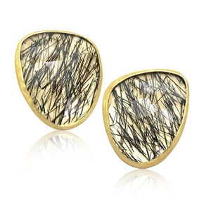 Black Tourmaline Quartz Gold Wing Stud Earrings