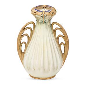 Small Amphora Vase With Dragonflies, Turn-Teplitz, Bohemia