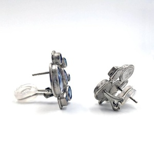 Purple Blue Rose Cut and Faceted Sapphire Palladium Stud Earrings