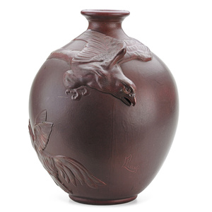 Weller, Rare And Large Fru-Russett Vase With Eagle, Rooster, And Hen, Zanesville, OH