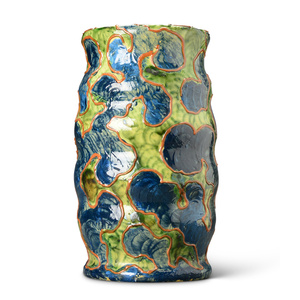 """Camouflage"" series vase with undulating cylindrical form glazed in green, blue, and terra cotta"
