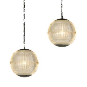 Pair of globe pendant lamps, USA