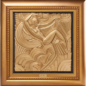 Art Deco panel of a dancing woman (framed), France