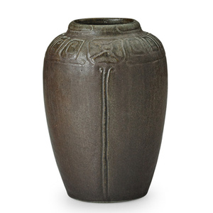 Vase with incised stylized flowers, Fairfax, CA