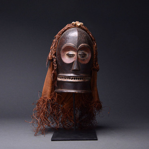 Chokwe Wooden Cihongo Mask with Cloth and Raffia Fibers