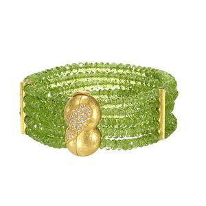 Green Peridot & Diamond Bracelet