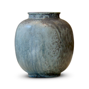 Vase with dappled cerulean jade gray glaze