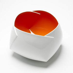 """White and Orange Origami Vessel"""