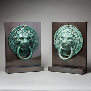 Pair of Roman Bronze Lion Roundels with Handles