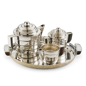 Rare Silver Style Four-Piece Tea Set, USA