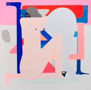 Cold Shoulder Painting. (Pink) Blue Figure