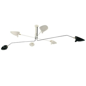 Serge Mouille Six Rotating Black and White Arms Ceiling Sconce Lamp