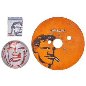Three painted or marker drawings of The Smoking Man on cereal box, aluminum bowl, and found wood object