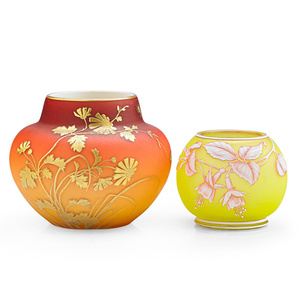 Peach Bloom vase with daisies (possibly Thomas Webb) and cabinet vase with fuchsia, England