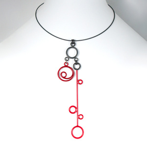 Necklace with Two Sterling Silver and Red Charms