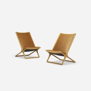 Scissor chairs, pair