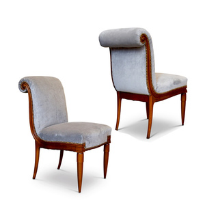 Pair of finely modeled chairs in carved solid cherry