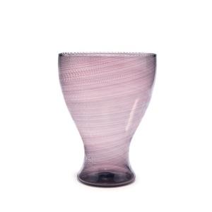 "A ""mezzafiligrana"" vase, clear glass purple spiral."