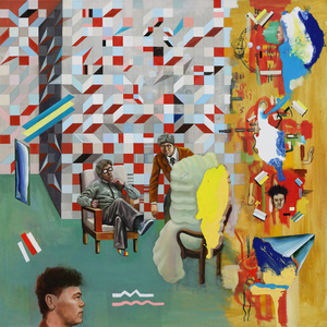 Analytical conversation about the Void in aplace of multidimensional painting formatthat resembles that of traditional orientalpaintings that include both image and texton a single plane
