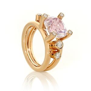 Kunzite & White Diamond Ring
