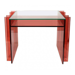 Lucite Vanity Table with Glass Top