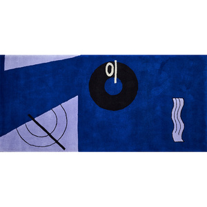 Blue Marine Wool Rug With Blue, Gray and Black Abstract Pattern
