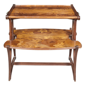 Louis Majorelle Art Nouveau Two-Tier Bronze-Mounted Fruitwood Marquetry Inlaid Mahogany Occasional Table
