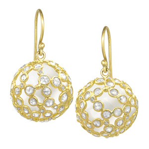 Brilliant and Rose-Cut Diamond Wrapped Rock Crystal Sphere Drop Earrings