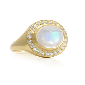 Oval Rainbow Moonstone White Diamond Crown Ring