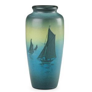Rookwood, Green Vellum Vase With Sailboats, Cincinnati, OH