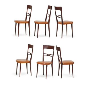 Six tallback dining chairs