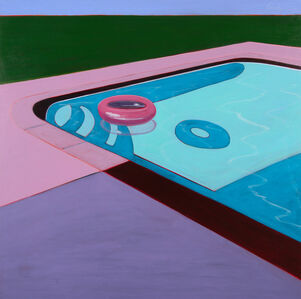 Pink Floating Tube in Pool
