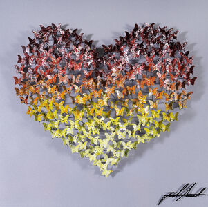 Heart Mini - Red/Yellow on Silver