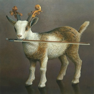 A goat holding a bow in mouth