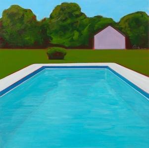 Hamptons Pool With Pink Barn
