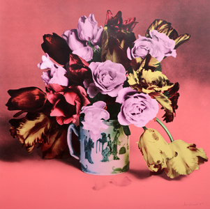 Roses and Tulips in Chinese Mug (Salmon)