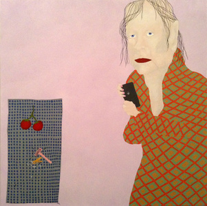 Woman with phone and tomatoes